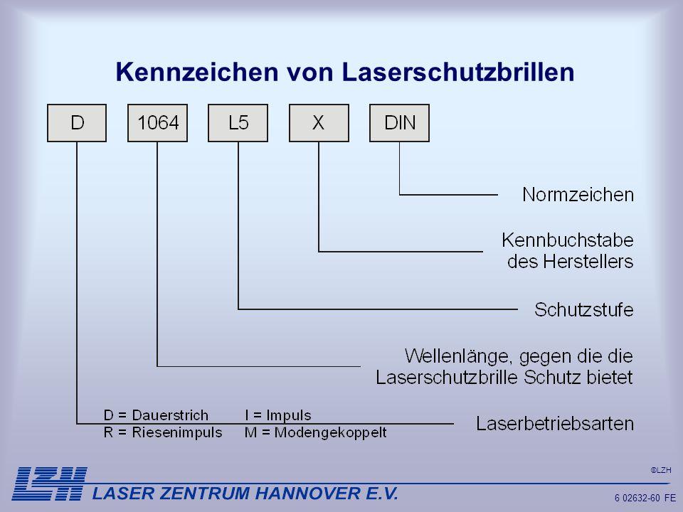 Kennzeichen von Laserschutzbrillen