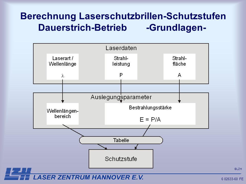 Berechnung Laserschutzbrillen-Schutzstufen Dauerstrich-Betrieb -Grundlagen-