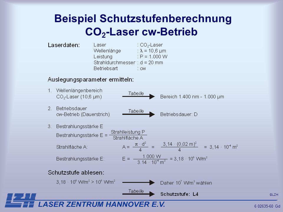 Beispiel Schutzstufenberechnung CO2-Laser cw-Betrieb