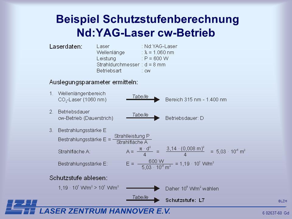 Beispiel Schutzstufenberechnung Nd:YAG-Laser cw-Betrieb