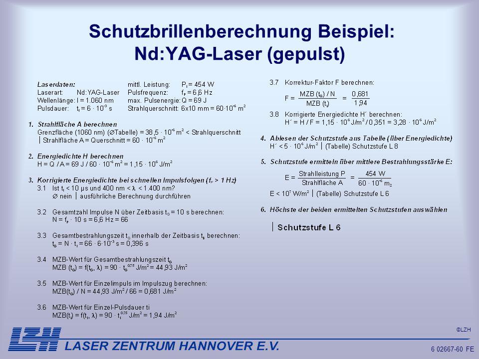 Schutzbrillenberechnung Beispiel: Nd:YAG-Laser (gepulst)