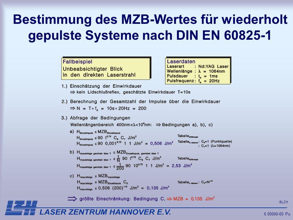 Bestimmung des MZB-Wertes für wiederholt gepulste Systeme nach DIN EN 60825-1