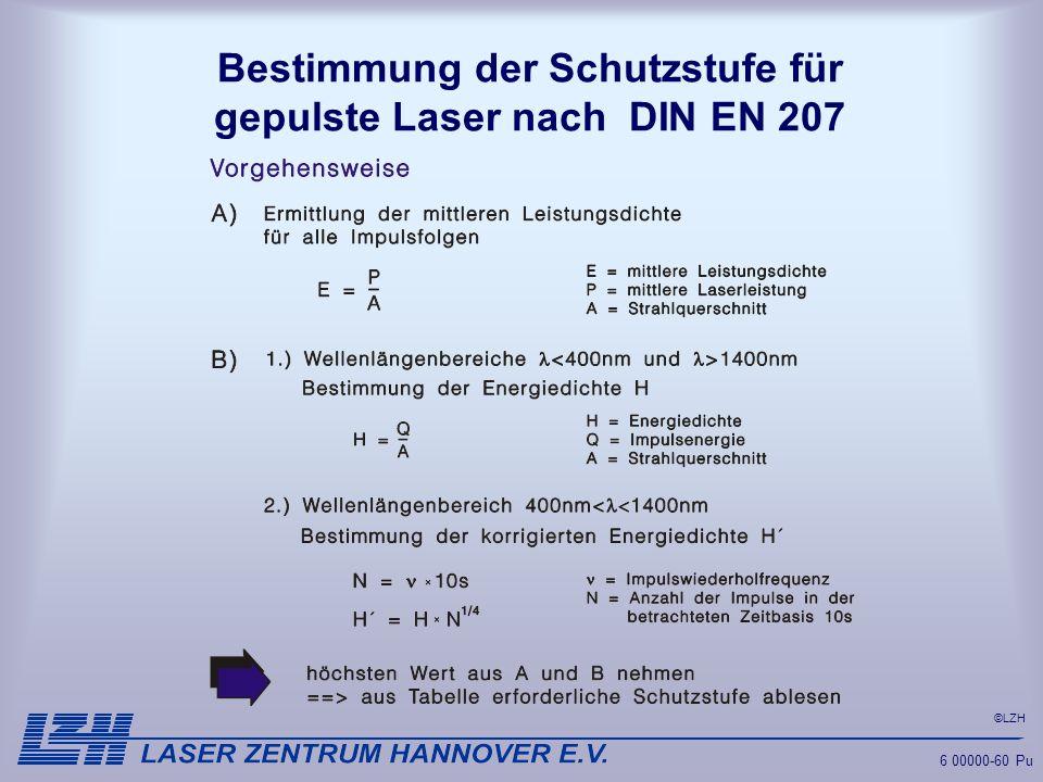 Bestimmung der Schutzstufe für gepulste Laser nach DIN EN 207