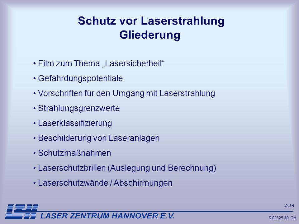 Schutz vor Laserstrahlung Gliederung