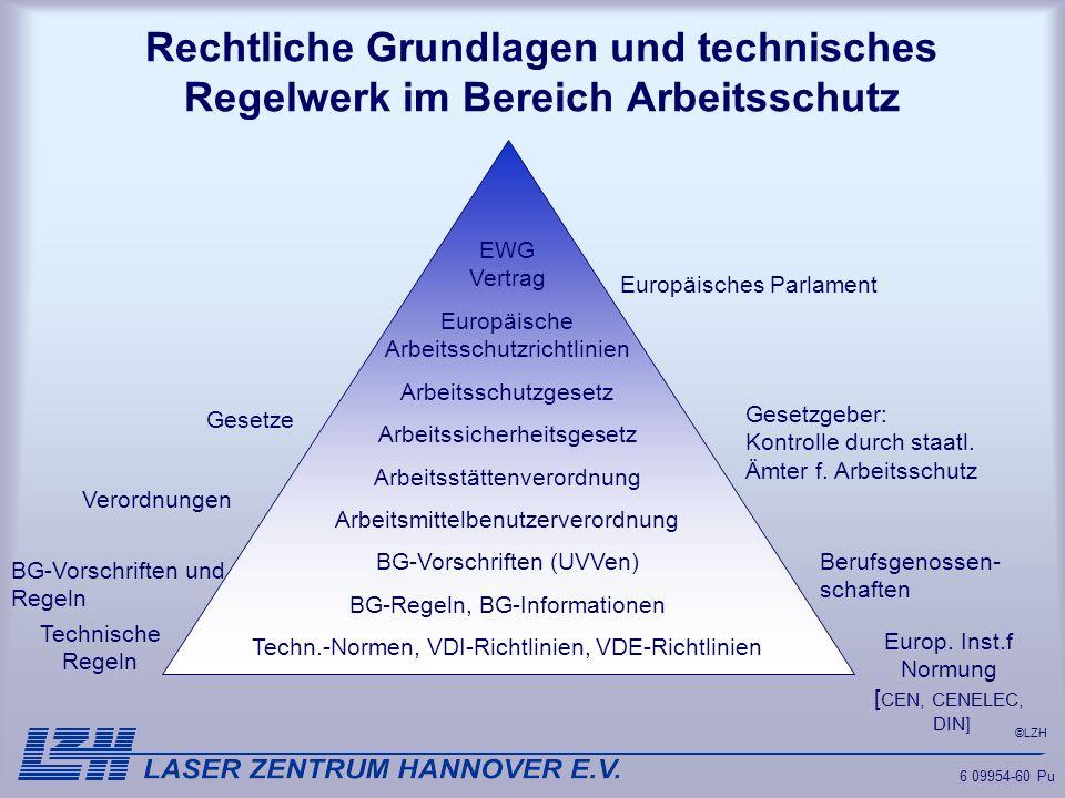 Rechtliche Grundlagen und technisches Regelwerk im Bereich Arbeitsschutz