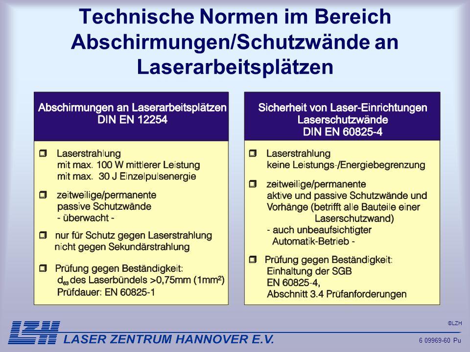 Technische Normen im Bereich Abschirmungen/Schutzwände an Laserarbeitsplätzen