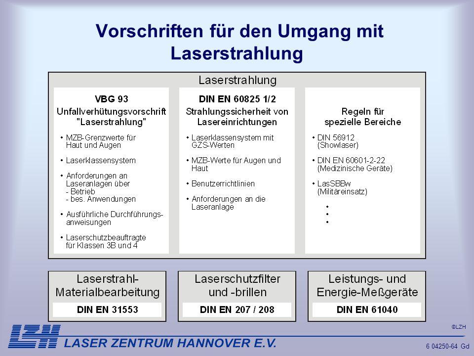 Vorschriften für den Umgang mit Laserstrahlung