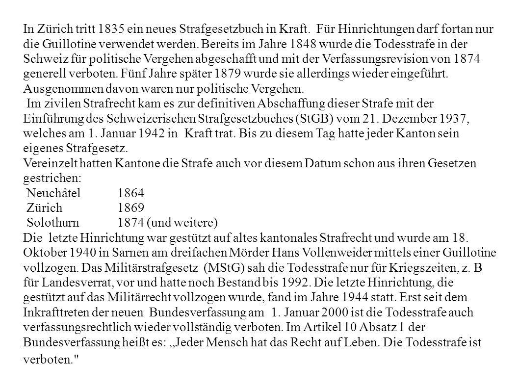 In Zürich tritt 1835 ein neues Strafgesetzbuch in Kraft
