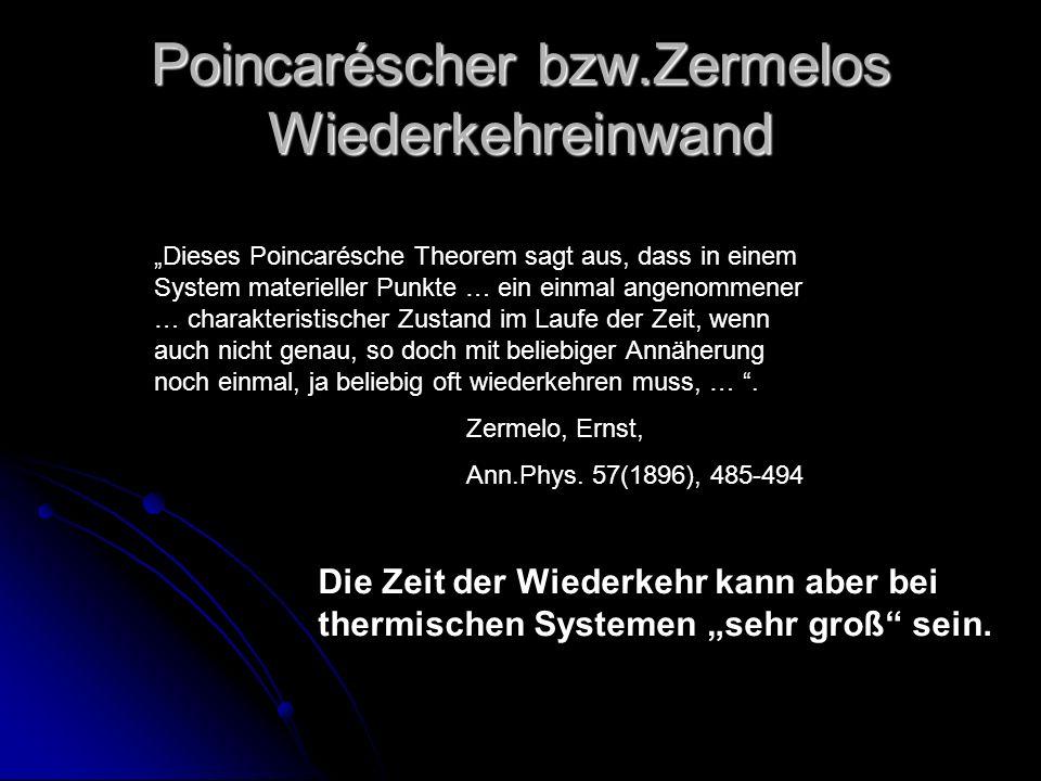 Poincaréscher bzw.Zermelos Wiederkehreinwand