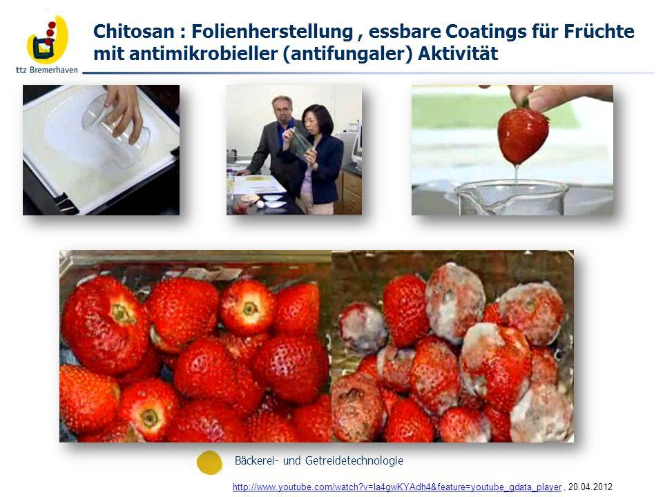 Chitosan : Folienherstellung , essbare Coatings für Früchte mit antimikrobieller (antifungaler) Aktivität