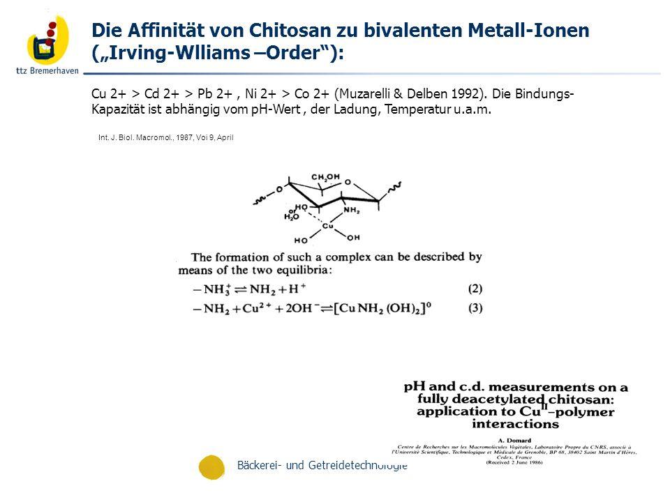 """Die Affinität von Chitosan zu bivalenten Metall-Ionen (""""Irving-Wlliams –Order ):"""