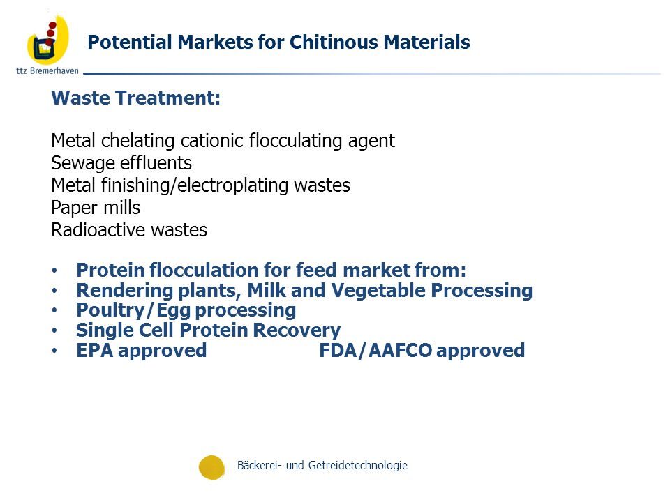 Potential Markets for Chitinous Materials