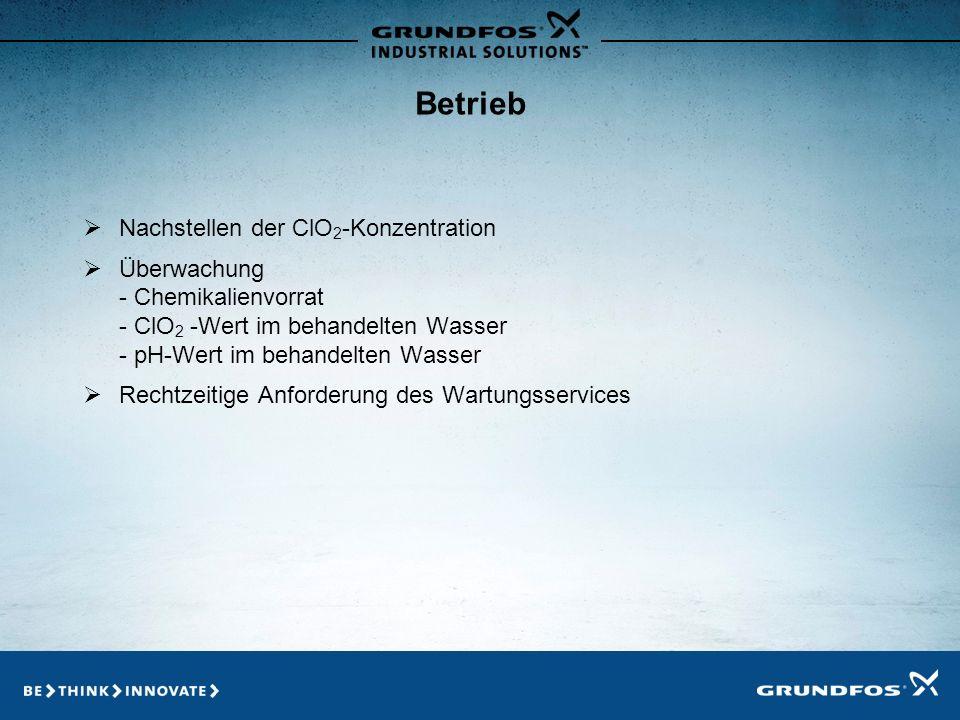 Betrieb Nachstellen der ClO2-Konzentration