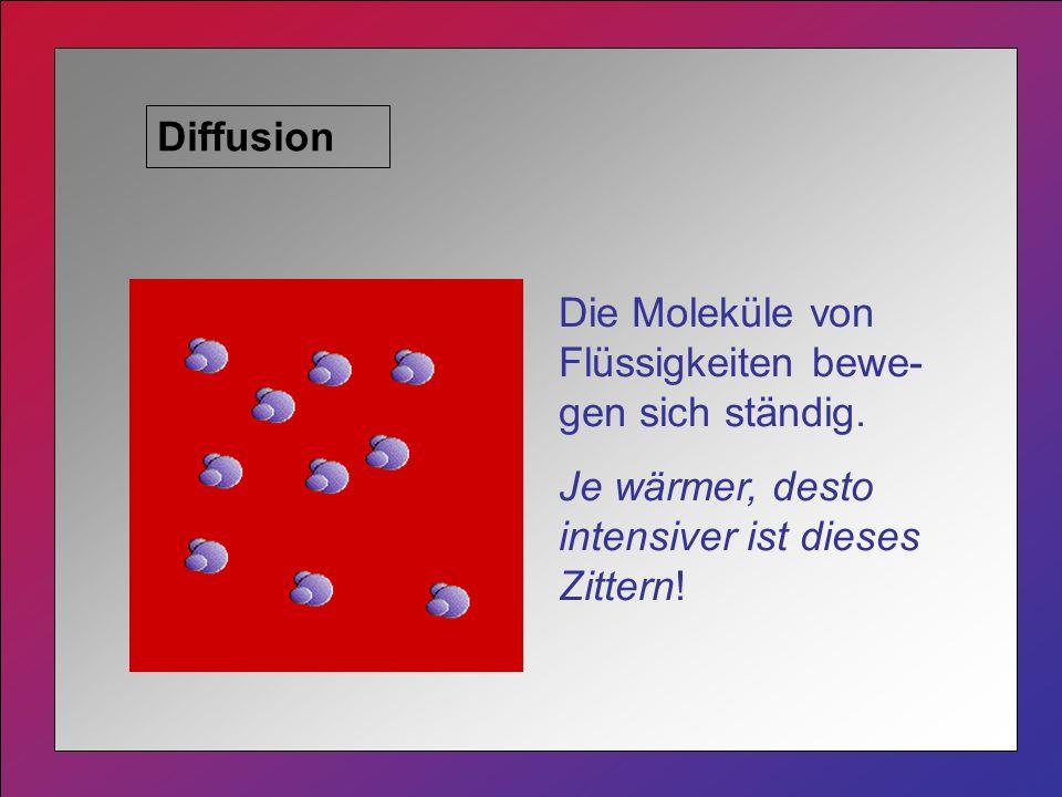 Diffusion Die Moleküle von Flüssigkeiten bewe-gen sich ständig.