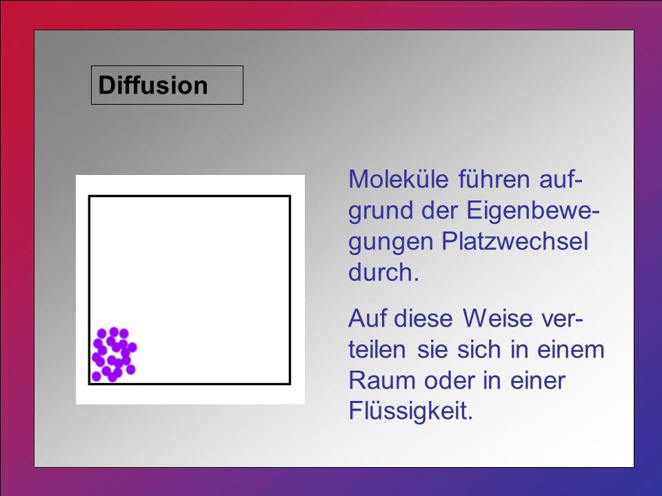 Diffusion Moleküle führen auf-grund der Eigenbewe-gungen Platzwechsel durch.
