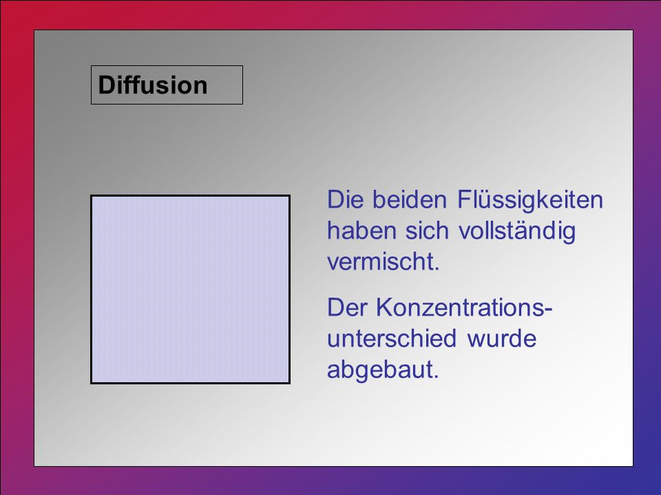 Diffusion Die beiden Flüssigkeiten haben sich vollständig vermischt.