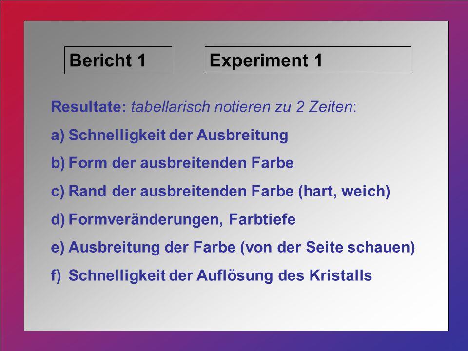 Bericht 1 Experiment 1 Resultate: tabellarisch notieren zu 2 Zeiten:
