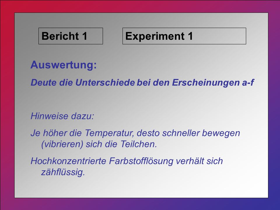 Bericht 1 Experiment 1 Auswertung:
