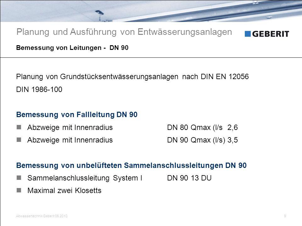 Bemessung von Leitungen - DN 90