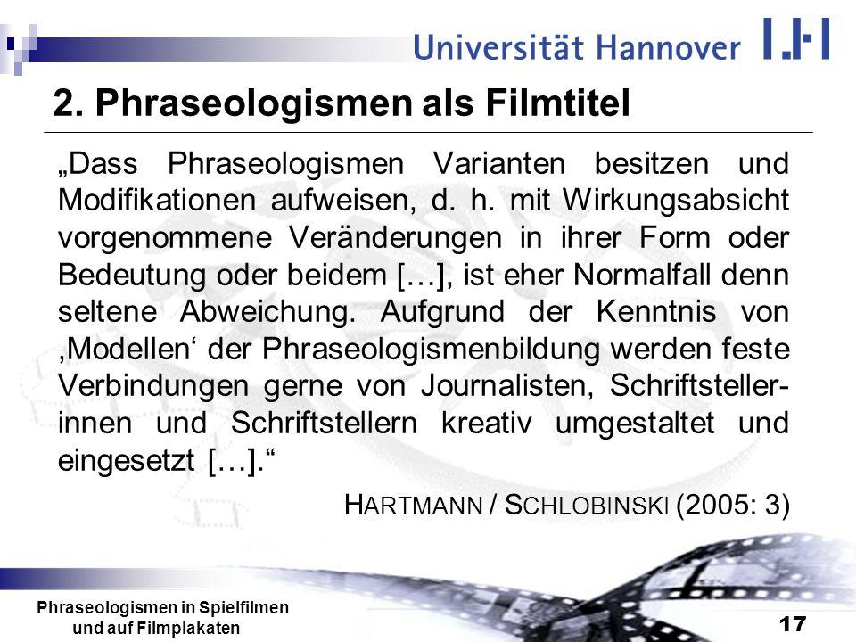 2. Phraseologismen als Filmtitel