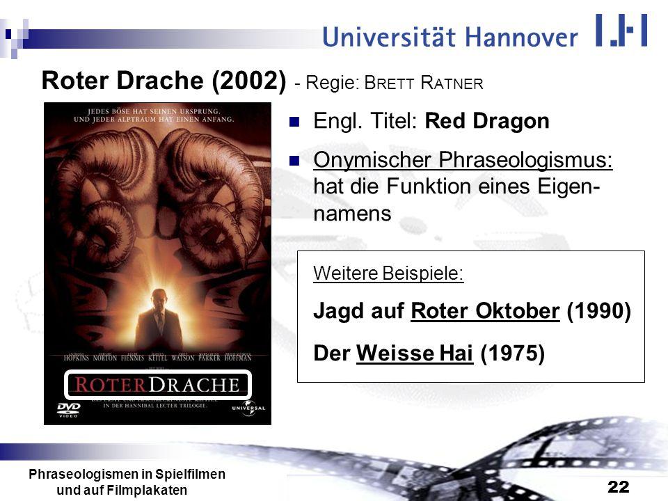 Roter Drache (2002) - Regie: BRETT RATNER