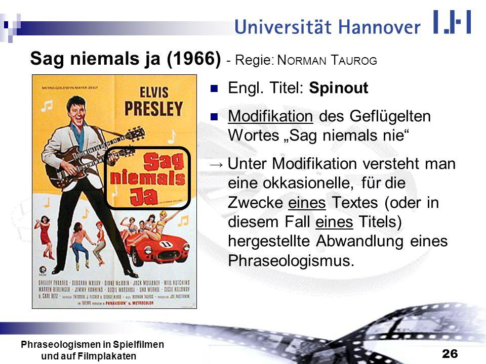 Sag niemals ja (1966) - Regie: NORMAN TAUROG