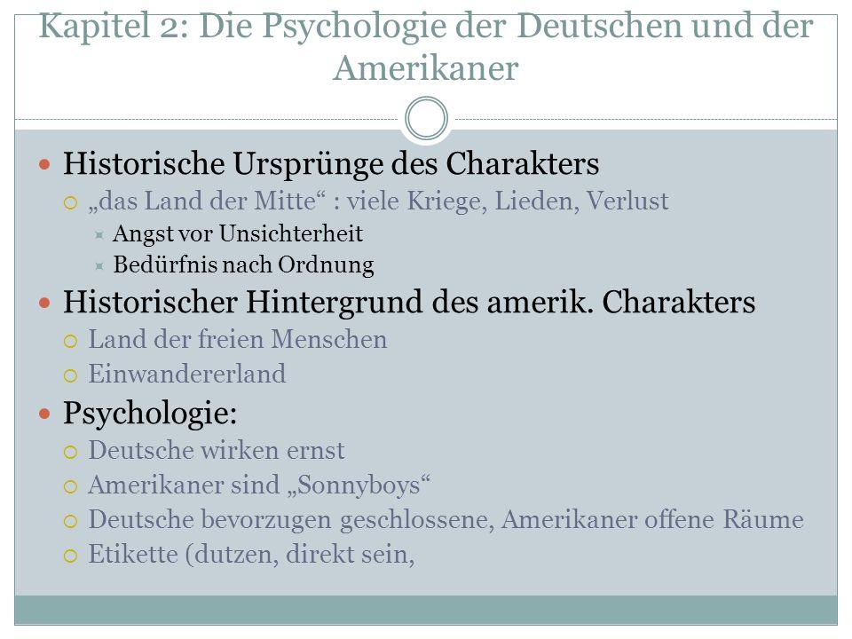 Kapitel 2: Die Psychologie der Deutschen und der Amerikaner