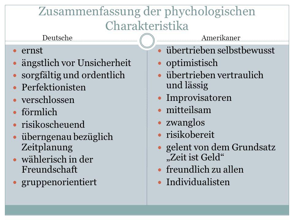 Zusammenfassung der phychologischen Charakteristika