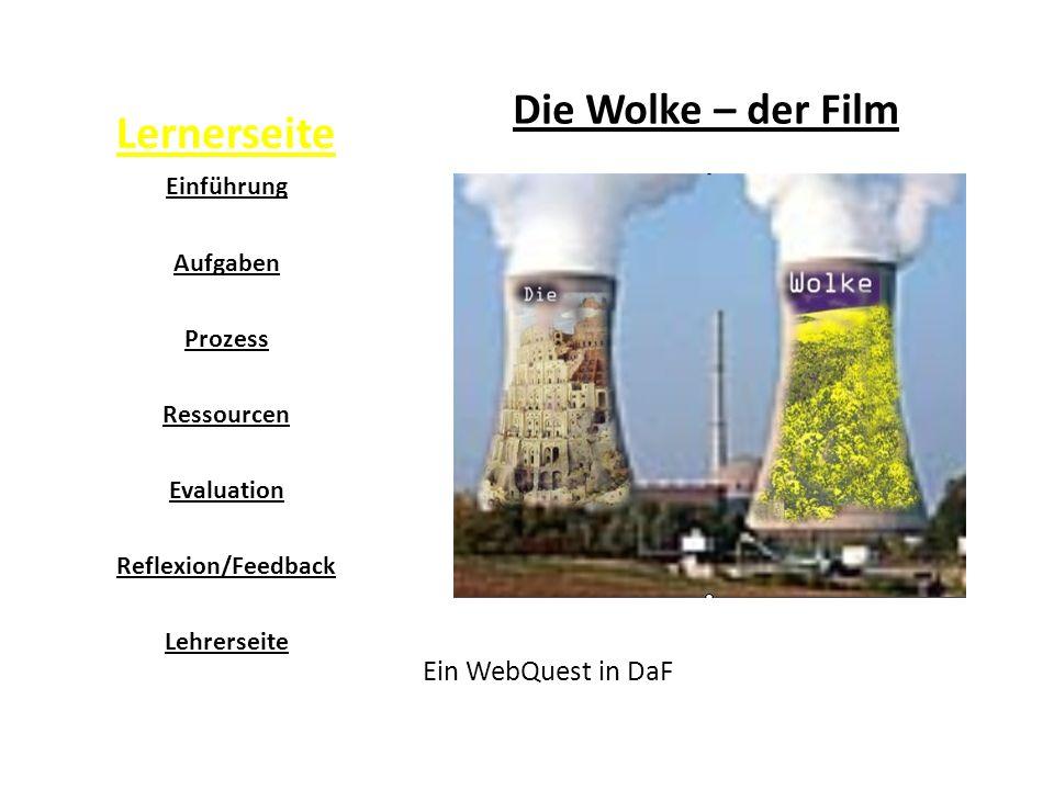 Lernerseite Die Wolke – der Film Ein WebQuest in DaF Einführung