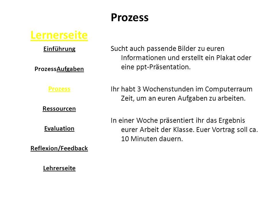 Lernerseite Prozess. Sucht auch passende Bilder zu euren Informationen und erstellt ein Plakat oder eine ppt-Präsentation.