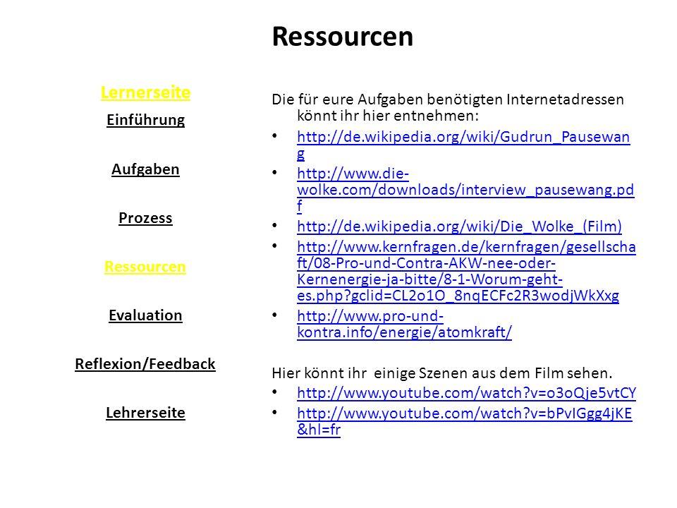 Ressourcen Lernerseite