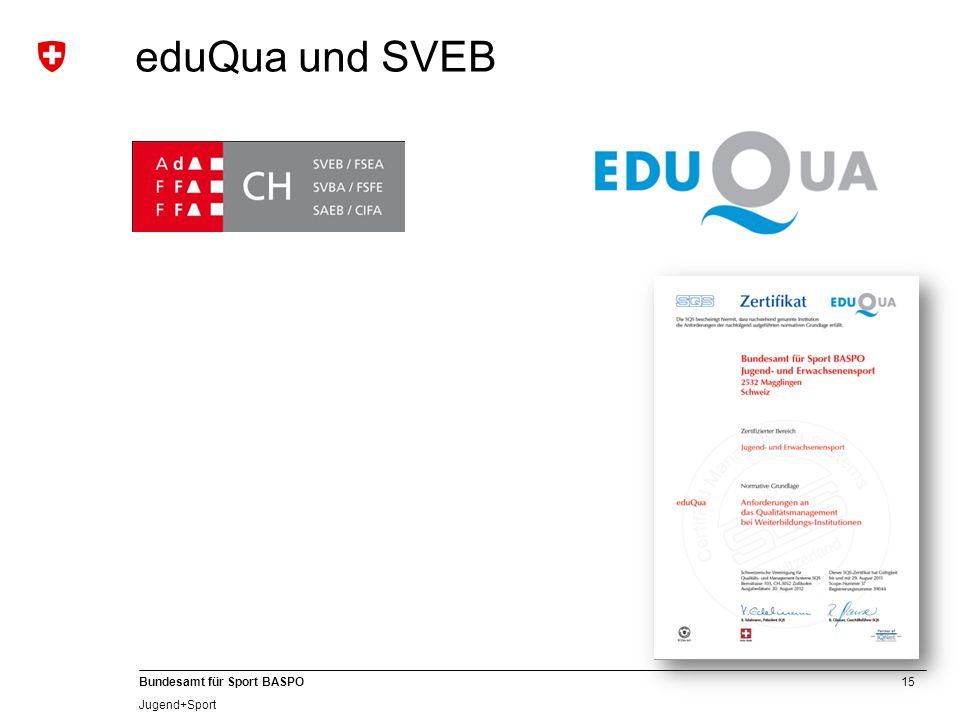 eduQua und SVEB Dem BASPO wurde erneut die Berechtigung zur Vergabe der SVEB-Zertifizierung vergeben.