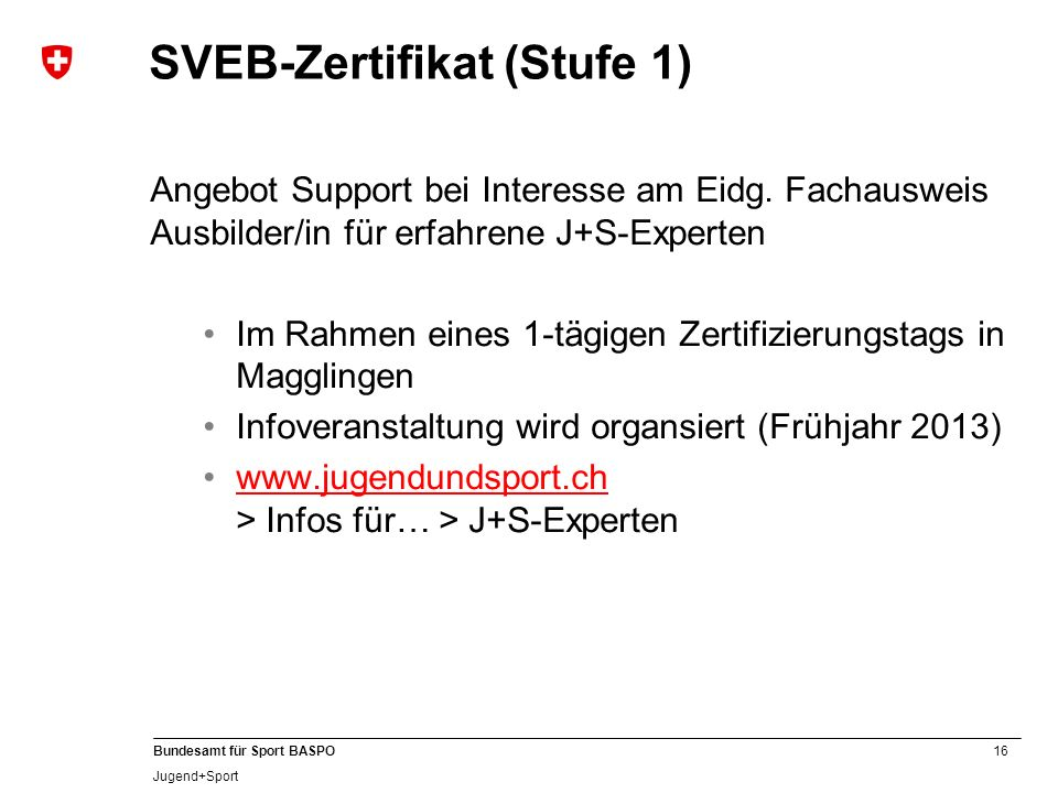 SVEB-Zertifikat (Stufe 1)