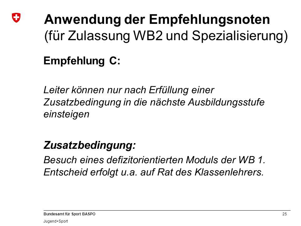 Anwendung der Empfehlungsnoten (für Zulassung WB2 und Spezialisierung)