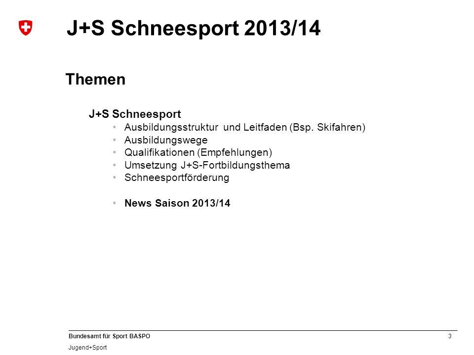 J+S Schneesport 2013/14 Themen J+S Schneesport