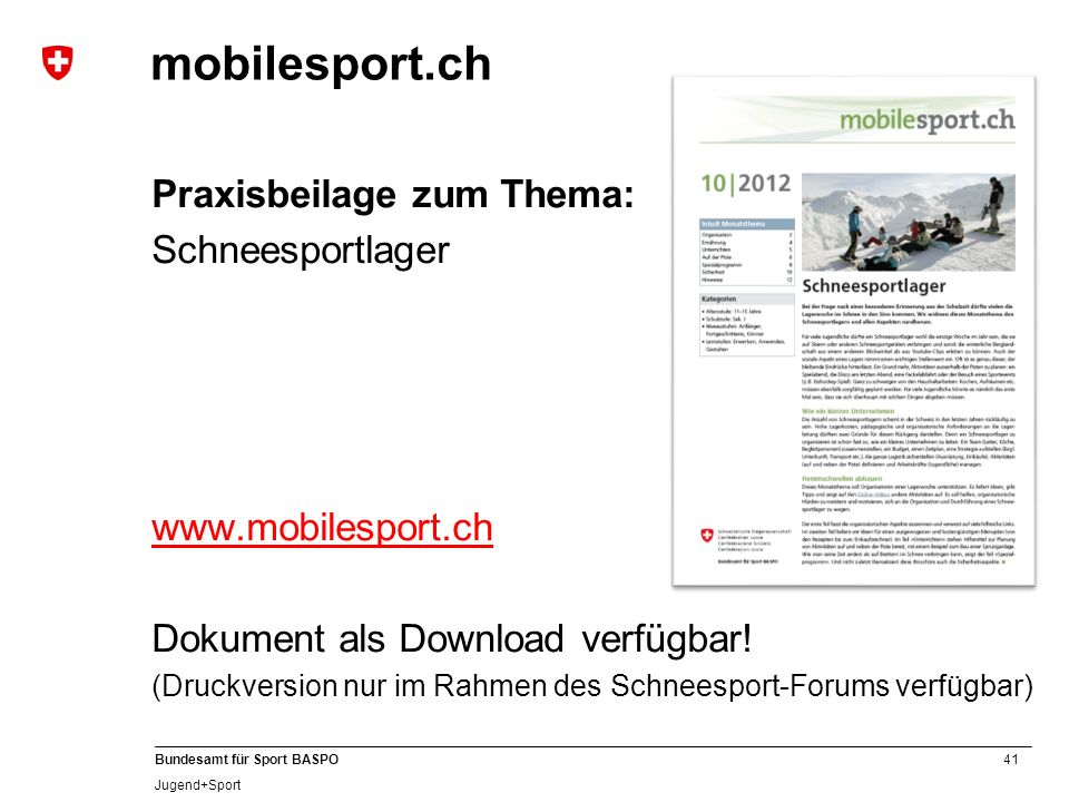 mobilesport.ch Praxisbeilage zum Thema: Schneesportlager