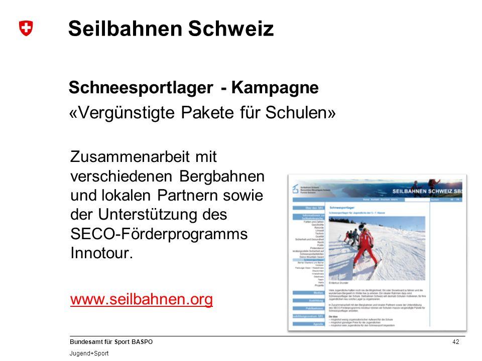 Seilbahnen Schweiz Schneesportlager - Kampagne