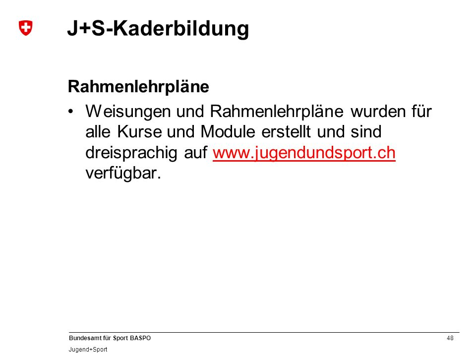 J+S-Kaderbildung Rahmenlehrpläne