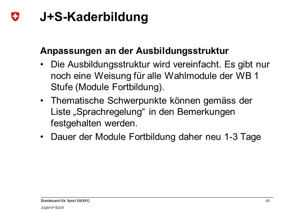 J+S-Kaderbildung Anpassungen an der Ausbildungsstruktur