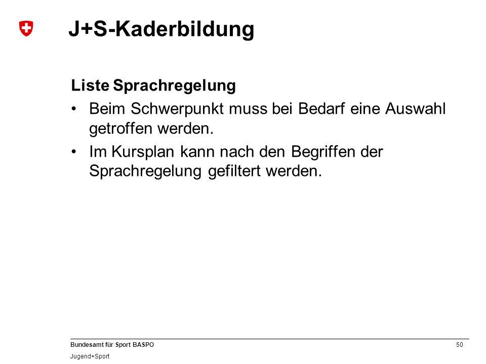 J+S-Kaderbildung Liste Sprachregelung