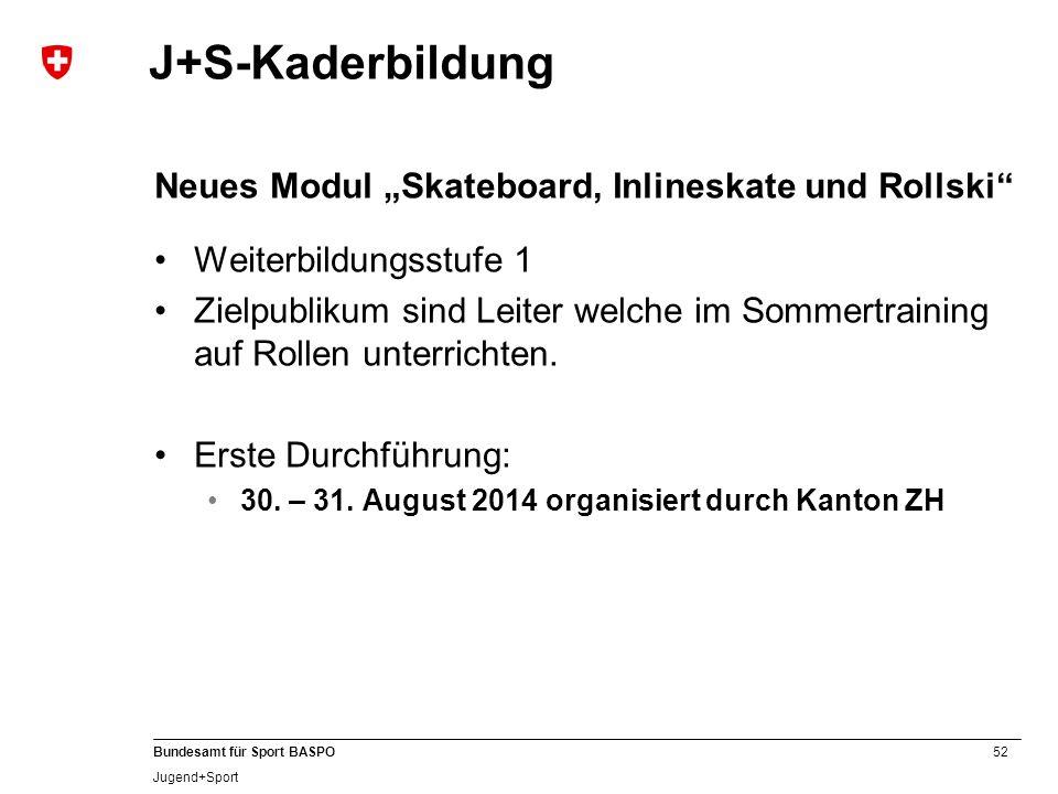 """J+S-Kaderbildung Neues Modul """"Skateboard, Inlineskate und Rollski"""