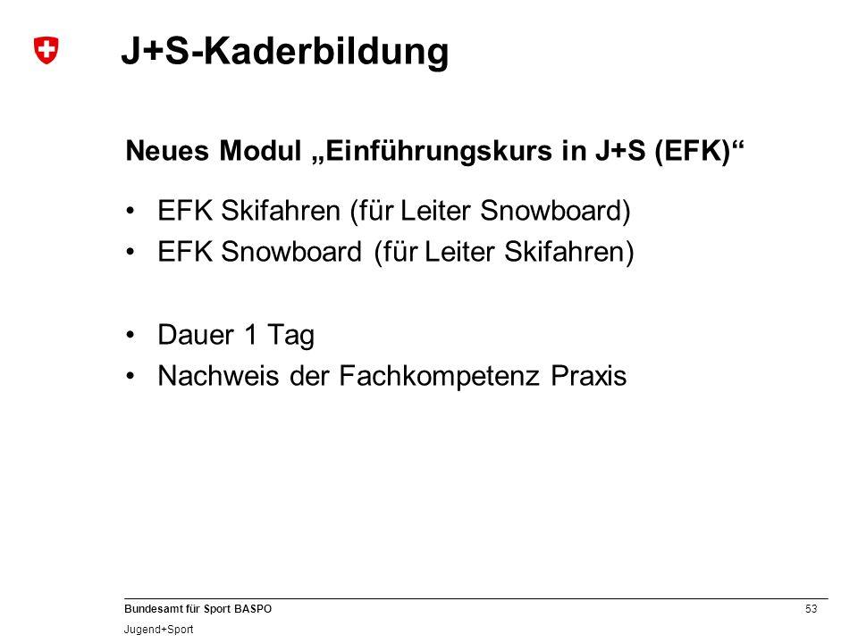 """J+S-Kaderbildung Neues Modul """"Einführungskurs in J+S (EFK)"""