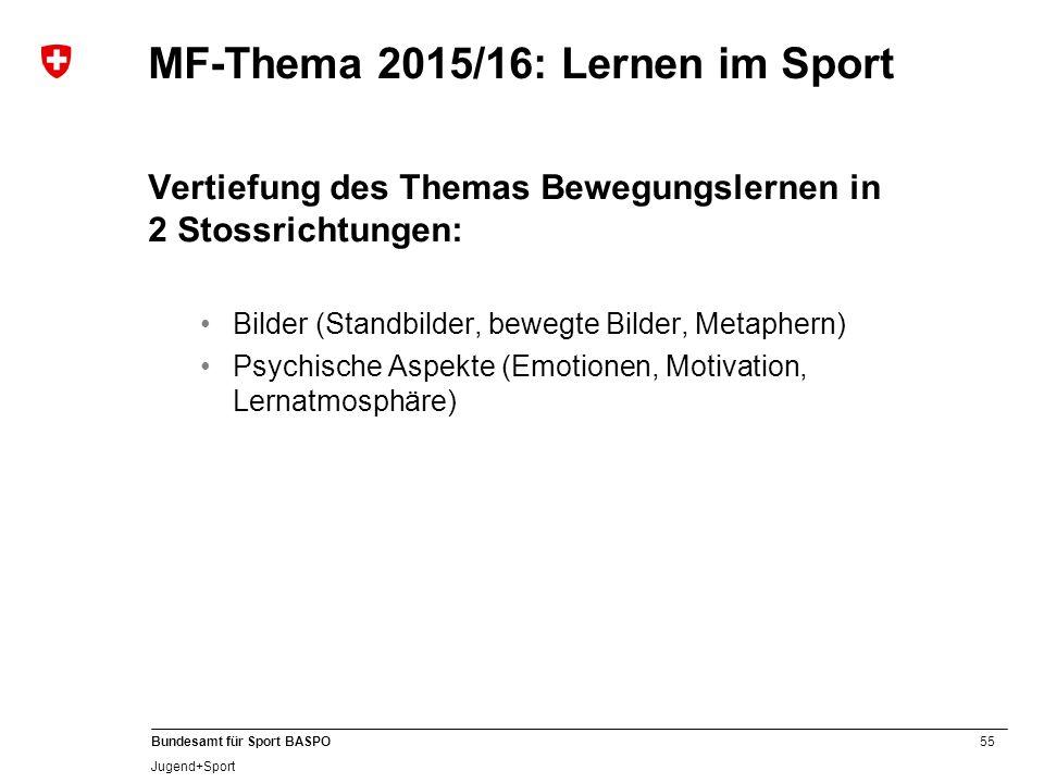 MF-Thema 2015/16: Lernen im Sport
