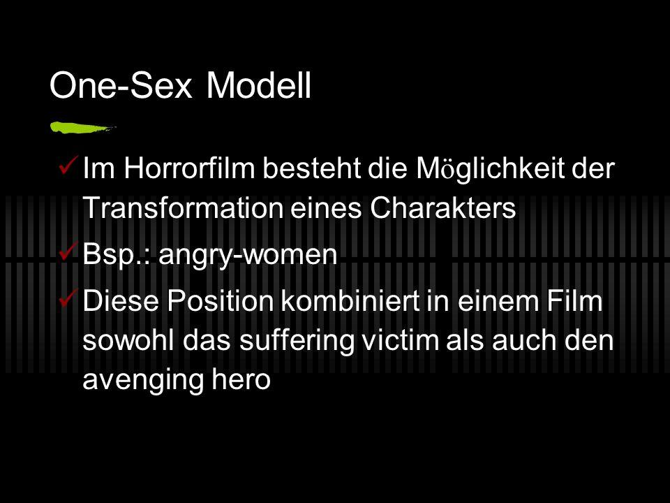 One-Sex Modell Im Horrorfilm besteht die Möglichkeit der Transformation eines Charakters. Bsp.: angry-women.