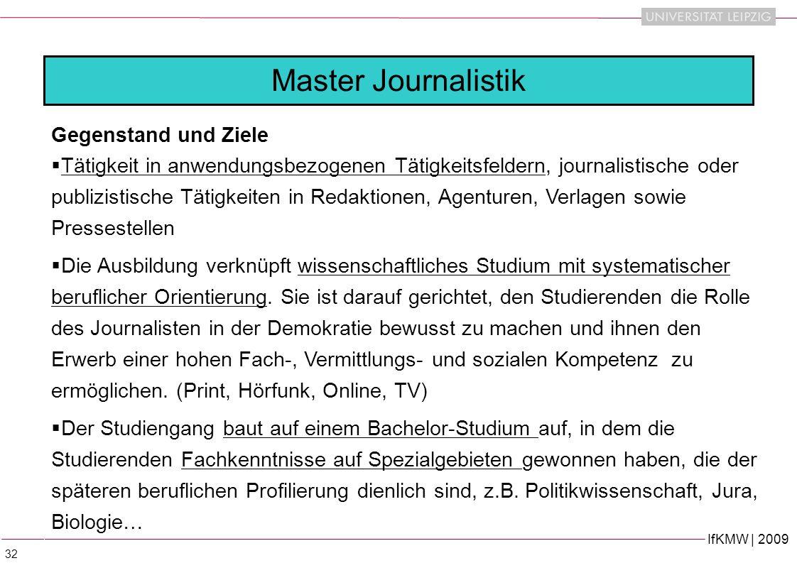 Master Journalistik Gegenstand und Ziele