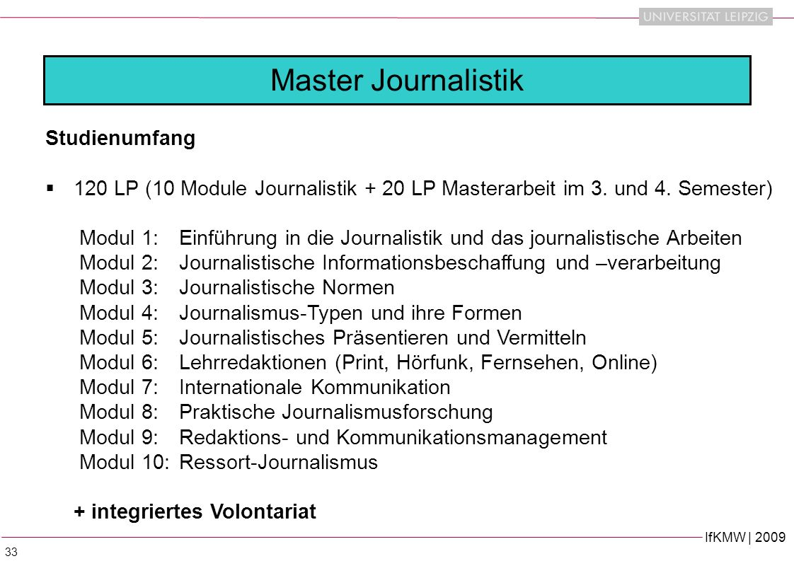 Master Journalistik Studienumfang