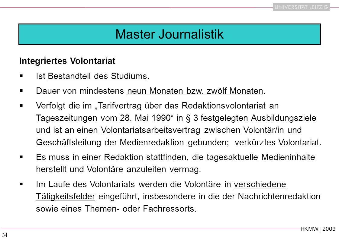Master Journalistik Integriertes Volontariat
