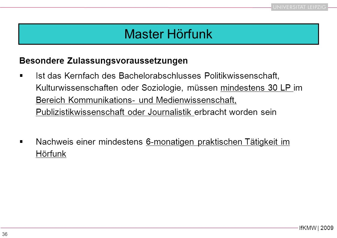 Master Hörfunk Besondere Zulassungsvoraussetzungen
