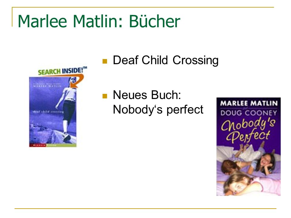 Marlee Matlin: Bücher Deaf Child Crossing Neues Buch: Nobody's perfect
