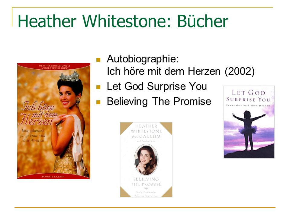 Heather Whitestone: Bücher